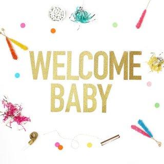 【Alexis Mattox Design】WELCOME BABY ゴールドグリッター バナー ラメ 【ガーランド レターバナー】マタニティフォト  ウェルカムベイビー(GB08)