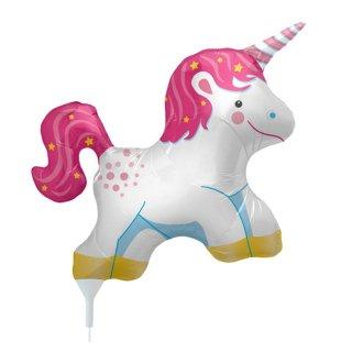 ミニ ユニコーン スティック付バルーン 風船 星 パステルカラー パーティー 誕生日 飾り付け 装飾 フォトプロップス unicorn balloon stick(NSB23059)