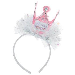 【amscan】クラウンヘッドバンド バースデープリンセス 王冠のついたカチューシャ ヘアバンド 誕生日 お祝い ドレスアップ チュール 女の子のお祝いに 撮影に(PG396750)