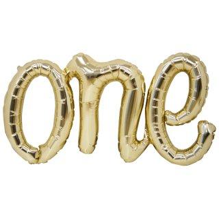 【筆記体文字のフィルム風船】ONE ゴールド スクリプトバルーン カリグラフィ 【バースデイ 記念日 パーティーデコレーション 装飾】【メール便可】(NSB01289)