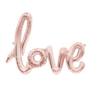 【筆記体文字のフィルム風船】love ピンクゴールド スクリプトバルーン カリグラフィ【ラブ バースデイ 記念日 ウェディング 結婚式 1歳誕生日 披露宴 二次会】【メール便可