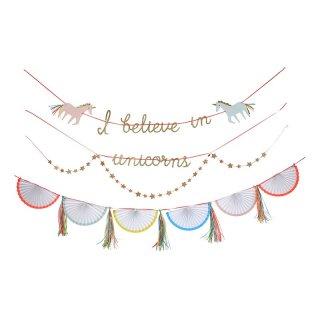 【Meri Meri】ユニコーンのガーランドセット 4種類入り【パーティー イベント ホームパーティー 誕生日 ファーストバースデーの飾り付けに】(45-2301)