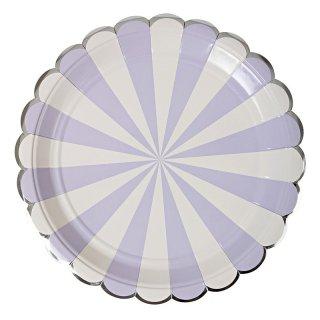 【Meri Meri】ラベンダー ストライプ ペーパープレート 8枚入り scallop パーティー用紙皿  ホームパーティ テーブルコーディネート 飾り 大人っぽい(45-2125)