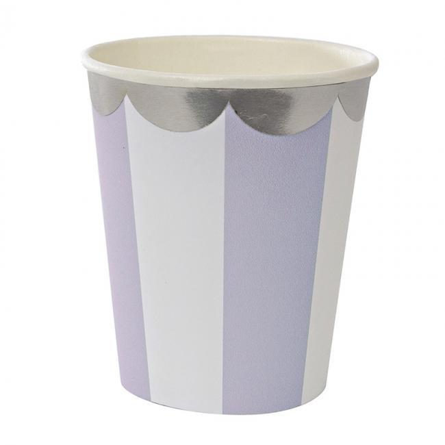 【meri meri メリメリ】ラベンダー ストライプ ペーパーカップ 8個入り【Lavender scallop paper cup】(45-2115)