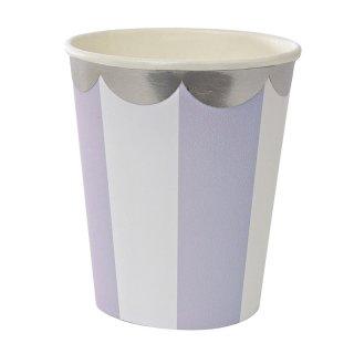 【Meri Meri】ラベンダー ストライプ ペーパーカップ 8個入り【Lavender scallop paper cup】(45-2115)