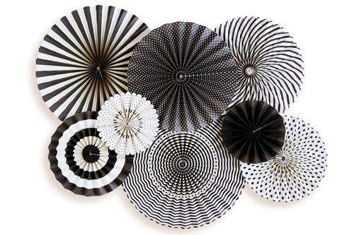 【my mind's eye マイマインズアイ】ブラック &ホワイト ペーパーファンセット BLACK & WHITE パーティーファン(BWP205)