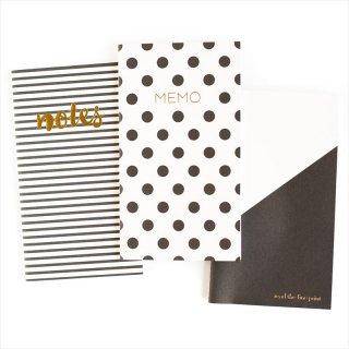 【my mind's eye マイマインズアイ】ブラック+ホワイト ミニノートブック メモ帳 3冊セット Black & White Mini Notebooks(BWP208)