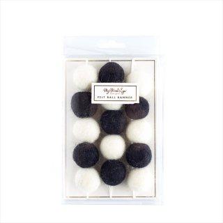 【my mind's eye マイマインズアイ】フェルトボール バナー ブラック+ホワイト Black & White Felt Ball Banner  ガーランド 羊毛フェルト(BWP206)