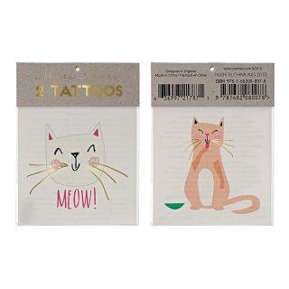 【Meri Meri メリメリ】タトゥーシール ねこ cat ネコ 2枚入り かわいい【フラッシュタトゥー ジュエリータトゥー 】(45-2112)