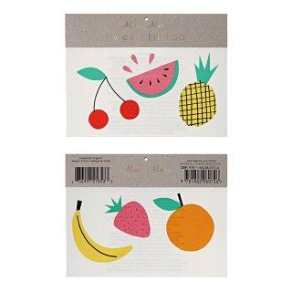 【Meri Meri メリメリ】タトゥーシール フルーツ 果物 2枚入り  パイナップル スイカ チェリー(45-2272)