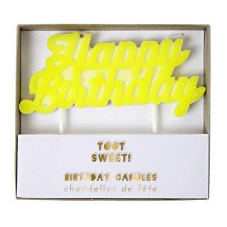 【Meri Meri メリメリ】イエロー Happy Birthdayキャンドル 黄色 POP ネオン お誕生日ケーキに(45-1759)