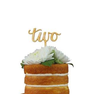 【Alexis Mattox Design】ケーキトッパー カリグラフィー TWO 木製【ケーキ用飾り】cake topper ハッピーバースデイ  2歳誕生日(SCR2)