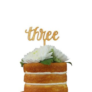 【Alexis Mattox Design】ケーキトッパー カリグラフィー THREE 木製【ケーキ用飾り】cake topper ハッピーバースデイ 3歳誕生日  メール便可(SCR3)