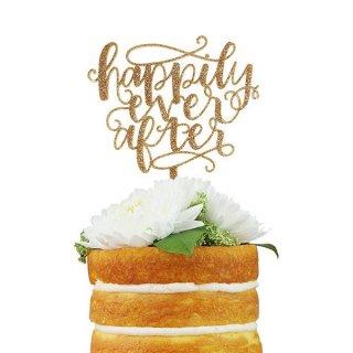 【Alexis Mattox Design】ウエディングケーキトッパー グリッター カリグラフィ Happily Ever After【ケーキ用飾り】メール便可(CT19)