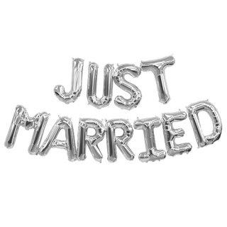 フィルムレターバルーンJUSTMARRIED ジャストマリッド シルバー 【バルーン balloon 風船 結婚式 ウェディング 前撮り 二次会 ウェルカムスペース】(NSB01291)