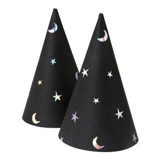 【Meri Meri】スター&ムーン ミニ パーティーハット 8個入  【ハロウィン HALLOWEEN モノトーン パーティー】(45-2411)