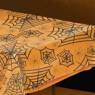 【amscan】クモの巣柄のテーブルクロス 透明 クリア テーブルカバー スパイダーウェブ 【HALLOWEEN ハロウィン  装飾 飾り付け】