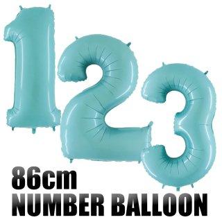 【◇パステルブルー◇ 数字バルーン】約90CMのビッグナンバーバルーン お誕生日のお祝いの飾り付けに 【バースデイ パーティーデコレーション フィルム風船】【メール便発送可】