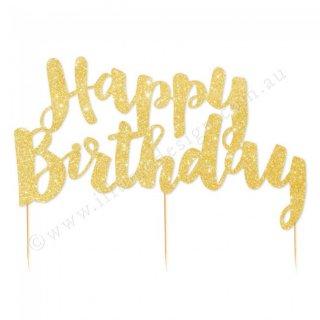 【Illume Partyware】 Happy Birthday ケーキトッパーゴールド 【紙製 グリッターペーパー グリッター ラメ】メール便OK(ID-HBGGCTOP-32)