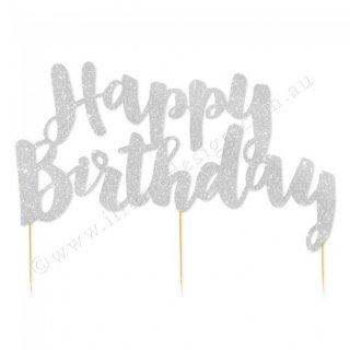 【Illume Partyware】Happy Birthday ケーキトッパー シルバー 【紙製 グリッターペーパー グリッター ラメ】メール便OK(ID-HBSGCTOP-32)