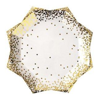 【Meri Meri】ゴールドコンフェッティ ラージプレート 縁ゴールド 箔プリント 8枚入り 星【お誕生日 バースデイ ペーパープレート 紙皿】(45-2448)