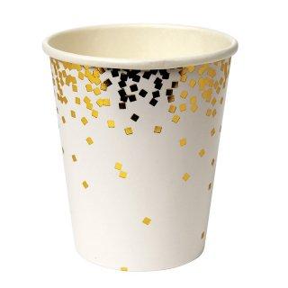 【Meri Meri】ゴールドコンフェッティ パーティーカップ Gold Square Confetti Party Cups 8個入り(45-2451/149968)