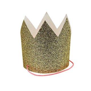 【Meri Meri】ゴールドグリッターのミニ王冠 GOLD グリッター ラメ ペーパークラウン  8個入り【お誕生日 バースデイ 1stバースデイ ハーフバースデイ お祝い】(45-2500)