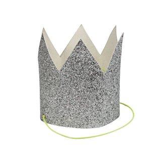 【Meri Meri】シルバーグリッターのミニ王冠 SILVER グリッター ラメ ペーパークラウン  8個入り【お誕生日 バースデイ 1stバースデイ ハーフバースデイ お祝い】(45-2501)