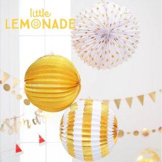 【Meri Meri】ゴールド3種 アコーディオンボール 星柄・ストライプ・ゴールド 3個入り【パーティー 装飾 飾りつけに 誕生日 お祝い クリスマス ウェディング】(45-2550)