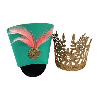 【Meri Meri】くるみ割り人形のパーティーハット ピンクの羽根つき兵隊帽子とゴールドグリッターの王冠セット 8個入り 【パーティー ハット クリスマス】(45-2458)