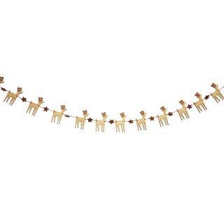 【Meri Meri】木製トナカイのミニガーランド グリッターのお星さまとセットになったクリスマスのガーランド【装飾 デコレーション 飾り付け パーティー】(45-2486)