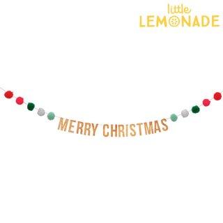 【Meri Meri】MERRY CHRISTMAS 木製プレートと毛糸のポンポンが付いたクリスマスのガーランド(45-3098/165241)