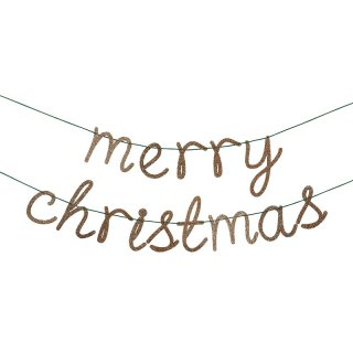 【Meri Meri】ゴールドのアクリル板を使用したmerry christmasカリグラフィ ガーランド 大きめ(45-2474)