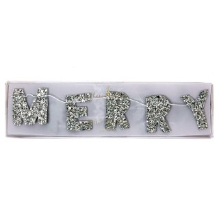 【Meri Meri】MERRY CHRISTMAS グリッターガーランド【シルバー ラメ グリッター ガーランド ミニサイズ クリスマス】(45-2342)