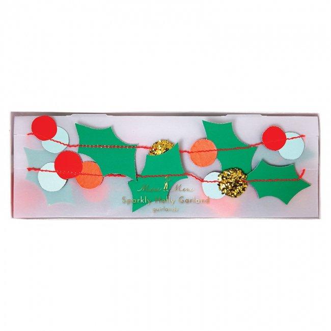 【Meri Meri】柊のデザインのクリスマスガーランド ミニサイズ【ガーランド バナー Xmas Christmas クリスマス クリスマスパーティー 装飾】(45-2330)