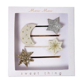 【Meri Meri】フェルト素材の星と月のヘアピン【白 moon star ヘアアクセ アクセサリー ヘアクリップ(50-0124)