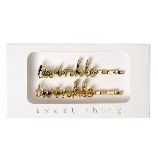 【Meri Meri】TWINKLE TWINKLE 文字が入ったレターヘアピン ゴールド(50-0045)◆SALE