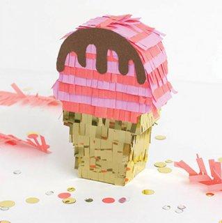 ミニピニャータ—3個セット/アイスクリームコーン【パーティーやイベントの演出にアクティビティに ピニャータ】(660210)