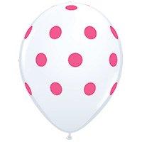 【風船】【ドット柄】【ばら売り】パーティーバルーン ドット ホワイト+ピンクドット 白地にピンクドット【パーティーデコレーション】
