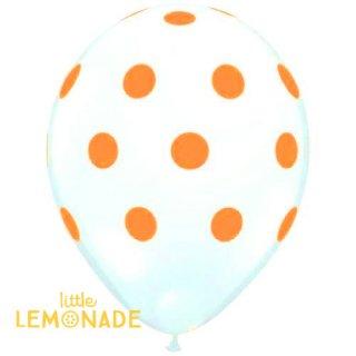 【風船】【ドット柄】【ばら売り】パーティーバルーン ホワイト+オレンジドット 白地にオレンジドット【パーティーデコレーション】