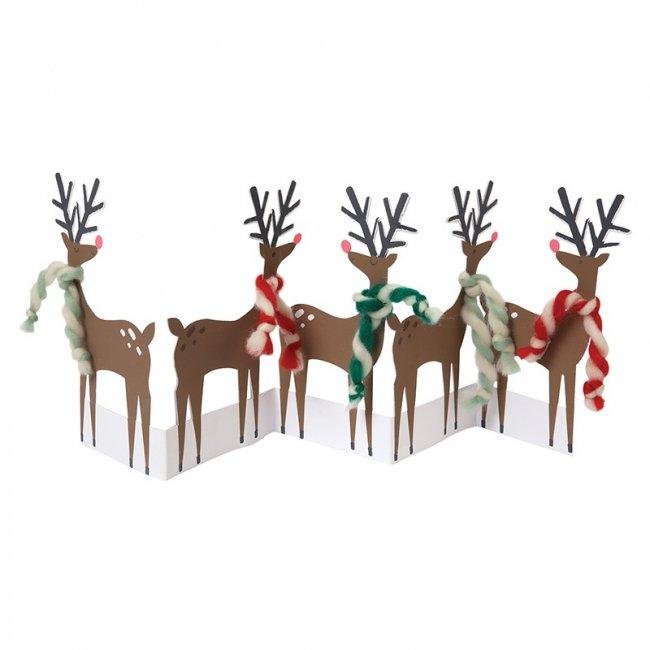 【Meri Meri】ツイストウールのマフラーをまいたトナカイのグリーティングカード【クリスマス ギフトカード グリーティングカード 文具 ステーショナリー】(42-0052)