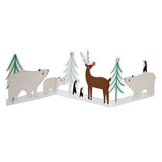 【Meri Meri】北欧の夜空シロクマとトナカイのグリーティングカード【クリスマス ギフトカード グリーティングカード 文具 ステーショナリー】小さな手のひらサイズ(11-2742)