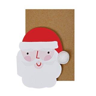 【Meri Meri】サンタクロースの顔のグリーティングカード【クリスマス ギフトカード グリーティングカード 文具 ステーショナリー】小さな手のひらサイズ(11-2748)