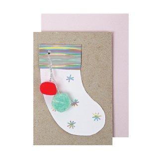【Meri Meri】クリスマスソックスのグリーティングカード ポンポン【クリスマス ギフトカード グリーティングカード 文具 ステーショナリー】小さな手のひらサイズ()