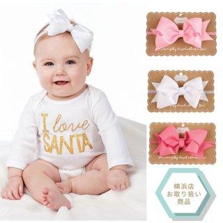 【Mud Pie】シンプル大きなリボンのヘアバンド【赤ちゃん 女の子 アクセサリー ベビー ピンク ホワイト】(1512173)