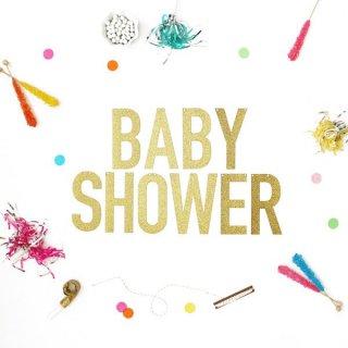 【Alexis Mattox Design】BABY SHOWER ゴールドグリッター バナー ラメ グリッター ゴールド【ガーランド レターバナー】 (GB-babyshower)