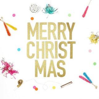 【Alexis Mattox Design】MERRY CHRISTMAS ゴールドグリッター バナー ラメ グリッター ゴールド【ガーランド レターバナー】
