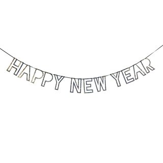 【Meri Meri】 NEW YEAR ガーランド シルバーグリッター 穴抜き文字デザイン【新年 a happy new year バナー 飾りつけ デコレーション】(45-2492)