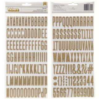 【American Crafts】アルファベット&数字 ゴールドラメ ステッカー  文字シール【ラッピング デコ DIY スクラップブッキング 英語 記号】 itgc