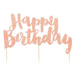 【illume partyware】Happy Birthday ケーキトッパー ローズゴールド 【紙製 グリッターペーパー グリッター ラメ】メール便OK(ID-HBRGGCTOP-32)